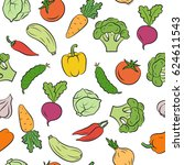 seamless pattern of vegetables. ... | Shutterstock .eps vector #624611543
