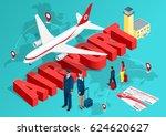 isometric airport travel... | Shutterstock .eps vector #624620627