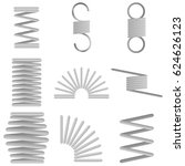 metal spiral spring. flat... | Shutterstock .eps vector #624626123