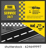 taxi business card. the work of ... | Shutterstock .eps vector #624649997