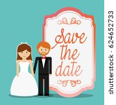 cute couple save the date... | Shutterstock .eps vector #624652733