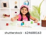 cute little indian asian girl... | Shutterstock . vector #624688163