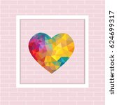 colorful triangle heart in... | Shutterstock .eps vector #624699317