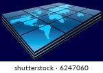 world map in blue gradient on... | Shutterstock . vector #6247060