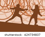 fencing player fight abstract... | Shutterstock .eps vector #624734837