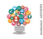 bulb social media isolated icon ... | Shutterstock .eps vector #624735593