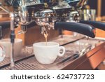 toned image of an espresso... | Shutterstock . vector #624737723