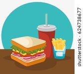 delicious fast food menu   Shutterstock .eps vector #624738677