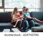 happy young family playing... | Shutterstock . vector #624743783