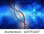 3d render of dna structure ... | Shutterstock . vector #624751637