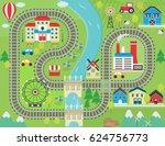 lovely city landscape train... | Shutterstock . vector #624756773