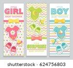 baby shower card invitation set ...   Shutterstock . vector #624756803