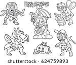 cartoon funny monsters set of...   Shutterstock .eps vector #624759893