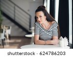 attractive woman with brunette... | Shutterstock . vector #624786203
