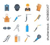 welding icons in a flat style.... | Shutterstock .eps vector #624800147