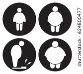 fat man icons set. white on a... | Shutterstock .eps vector #624800477