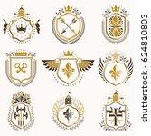 set of vintage emblems created... | Shutterstock . vector #624810803