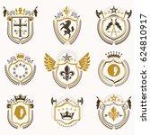 set of vintage emblems created... | Shutterstock . vector #624810917