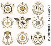 heraldic decorative emblems... | Shutterstock . vector #624810977