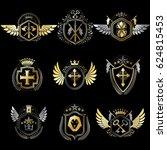 vintage decorative heraldic... | Shutterstock . vector #624815453
