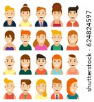set of happy male and female... | Shutterstock .eps vector #624824597