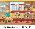vet checking up many dogs in... | Shutterstock .eps vector #624824993