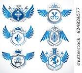classy heraldic coat of arms.... | Shutterstock . vector #624826577