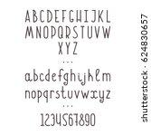 alphabet and numbers. vector... | Shutterstock .eps vector #624830657