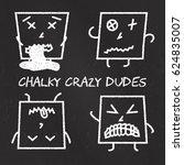 set of chalk emoticons ... | Shutterstock .eps vector #624835007