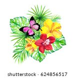 jungle leaves  exotic flowers ... | Shutterstock . vector #624856517