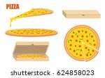pizza template. whole pizza and ... | Shutterstock .eps vector #624858023