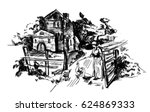 sketch with old town village ... | Shutterstock .eps vector #624869333