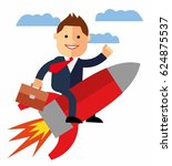 cartoon businessman flying on a ... | Shutterstock .eps vector #624875537