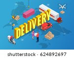 isometric delivery concept.... | Shutterstock . vector #624892697