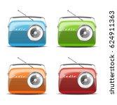 vintage radio. vector... | Shutterstock .eps vector #624911363