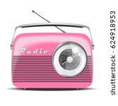 pink vintage radio. vector... | Shutterstock .eps vector #624918953
