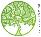 beautiful abstract green tree.... | Shutterstock .eps vector #624931607