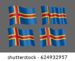3d waving flag of aland islands.... | Shutterstock .eps vector #624932957