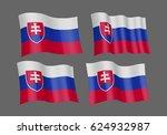 3d waving flag of slovakia.... | Shutterstock .eps vector #624932987