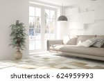 white room with sofa and winter ... | Shutterstock . vector #624959993