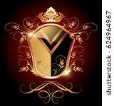 medieval heraldic shield ornate ... | Shutterstock .eps vector #624964967