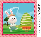 happy easter bunny carrying egg ... | Shutterstock .eps vector #624994253