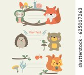 cute forest animals in cartoon... | Shutterstock .eps vector #625017263