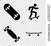 skateboard icons set. set of 4... | Shutterstock .eps vector #625023527