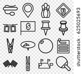 pin icons set. set of 16 pin... | Shutterstock .eps vector #625025693