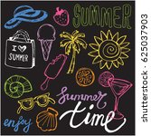hand drawn doodle summer vector ... | Shutterstock .eps vector #625037903