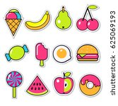 set of funny vector food... | Shutterstock .eps vector #625069193