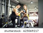 woman and man exercise together ... | Shutterstock . vector #625069217