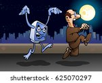 illustration of a man afraid of ... | Shutterstock . vector #625070297