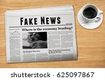 a newspaper showing 'fake news' ... | Shutterstock . vector #625097867